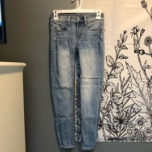 Light wash blue jeans